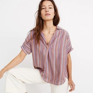 Madewell Courier Button-Back Shirt Rainbow Stripe